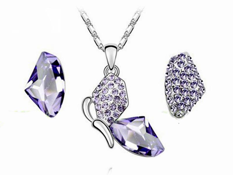 komplet biżuterii motyl
